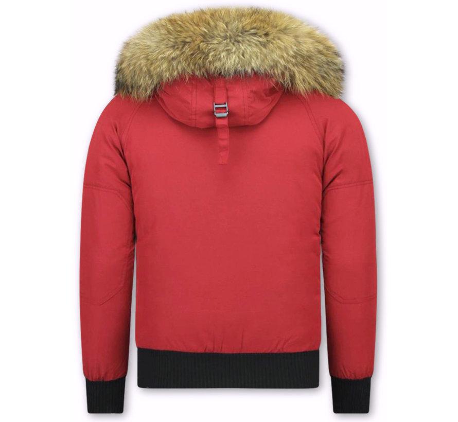 Korte Heren  Rode Winterjas -Jas met Bontkraag