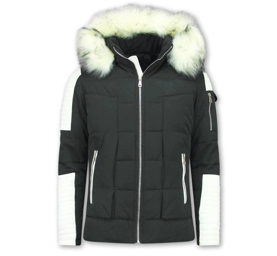 Heren Winterjas met Witte Bontkraag - Zwart