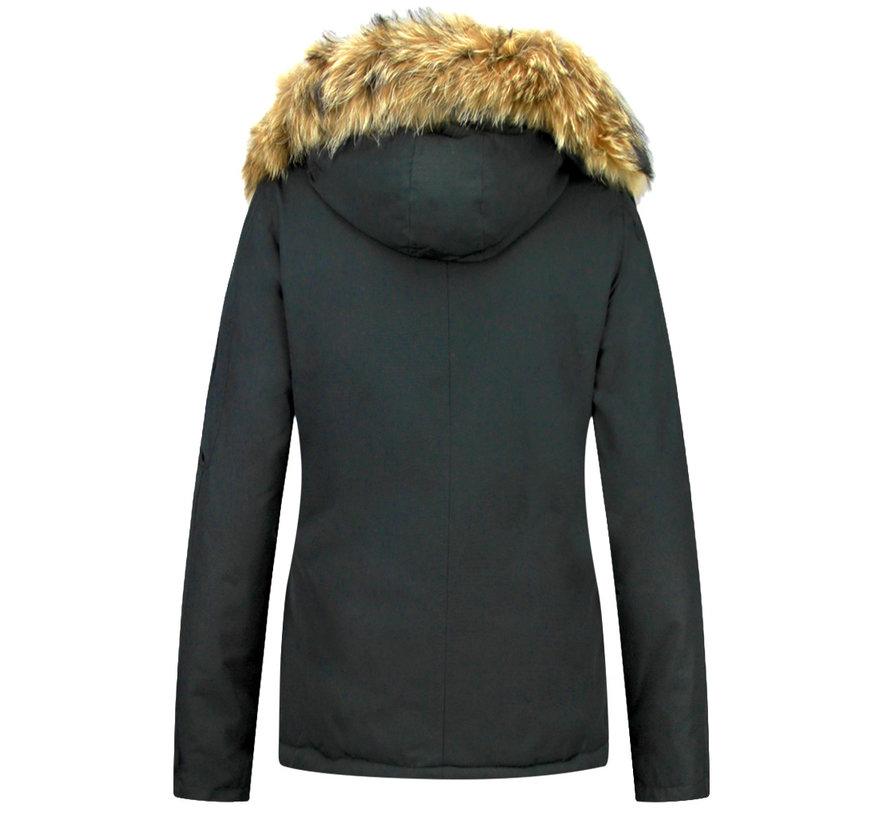 Vrouwen Winterjas Kort - Grote BontKraag - Zwart