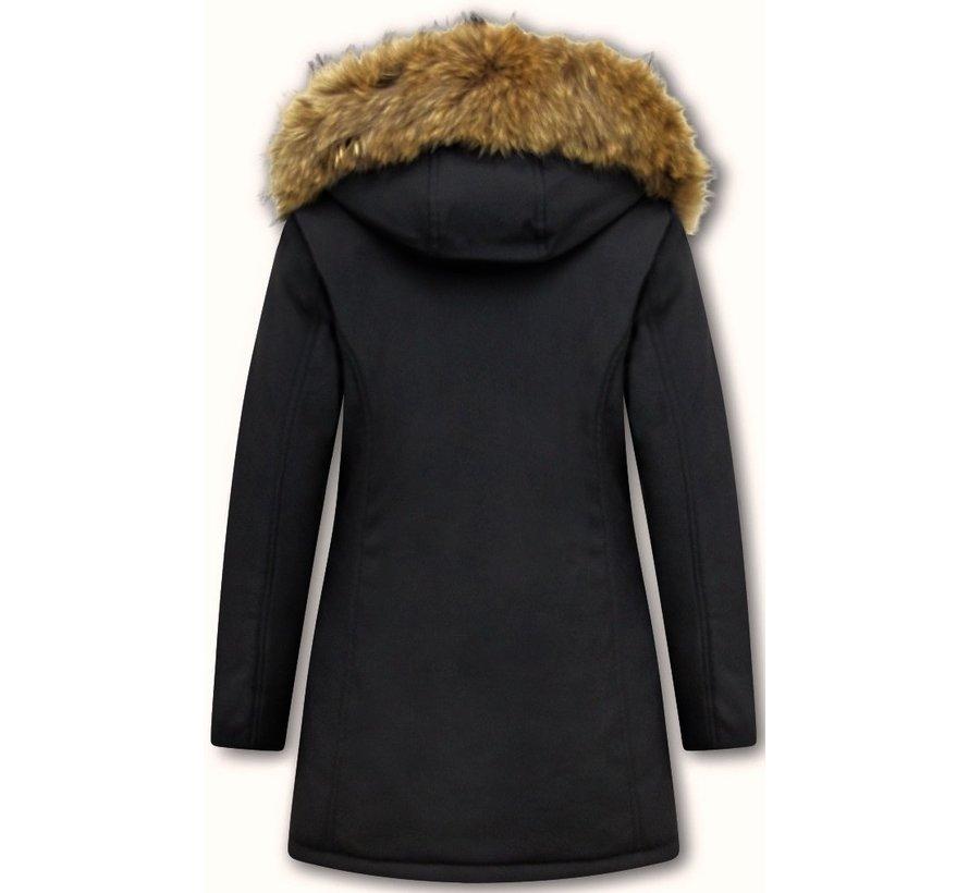 Winterjas Dames  met Echte Bontkraag - Slim Fit - Zwart