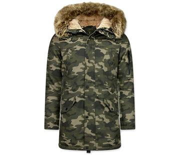 Enos Camouflage Heren Winterjas - met Imitatie Bontkraag - Groen