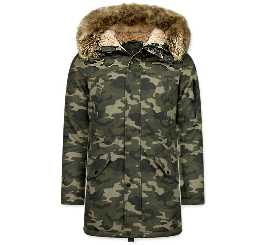 Camouflage Heren Winterjas - met Imitatie Bontkraag - Groen
