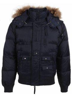 Next Style Heren Winterjas Kort - Kunstkraag - Duck Down Pilot - Blauw