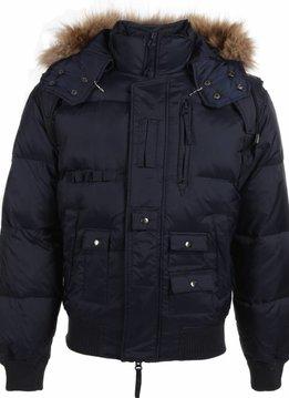 Next Style Winterjassen - Heren Winterjas Kort - Kunstkraag - Duck Down Pilot - Blauw