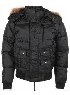 Next Style Heren Winterjas Kort - Bontkraag - Duck Down Pilot - Zwart