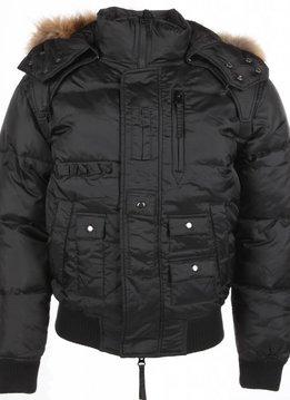 Next Style Winterjassen - Heren Winterjas Kort - Kunstkraag - Duck Down Pilot - Zwart