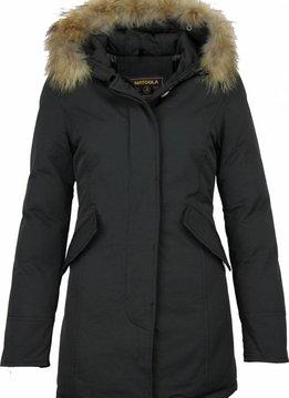 Beluomo Winterjassen - Dames Winterjas Wooly Lang -  Kunstkraag - Parka - Zwart