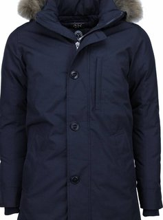Y chromosome Winterjassen - Heren Winterjas Lang - SLIM-FIT - Exclusive Parka - Donker Blauw