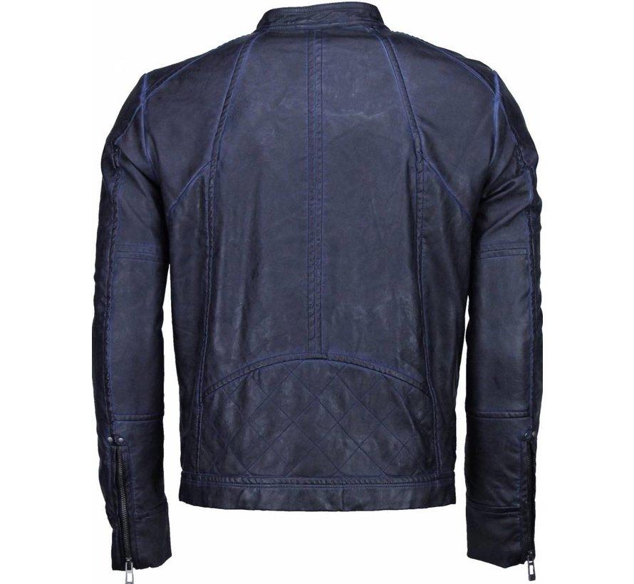 Imitatie Heren Leren Jas - Street Wear - Navy