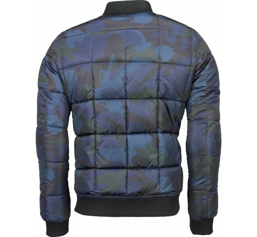 Camouflage Bomber Jacket - Heren Winterjas Kort - Blauw