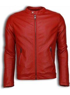 Enos Rode Biker Jack Heren - Imitatie Leren Jas