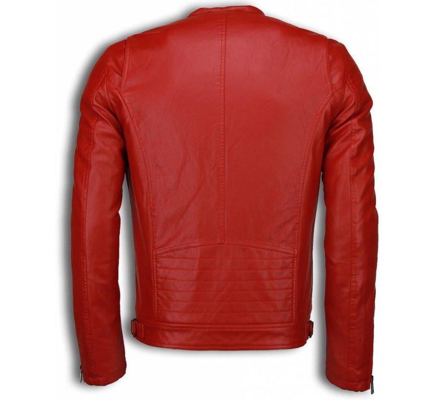Rode Biker Jack Heren - Imitatie Leren Jas