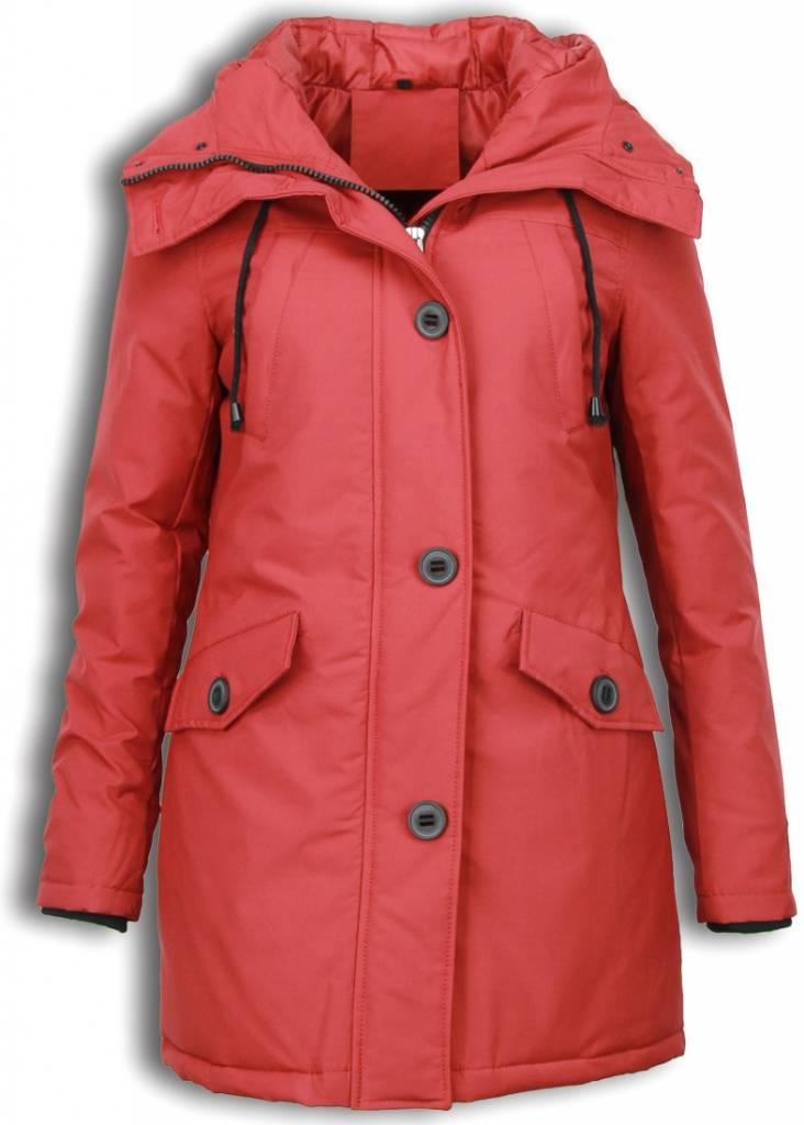 Adrexx Winterjassen - Dames Winterjas Middel - Canada Style - Kunstkraag - Rood