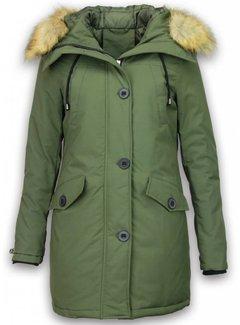 Adrexx Dames Winterjas Middel - Canada Style - Kunstkraag - Groen