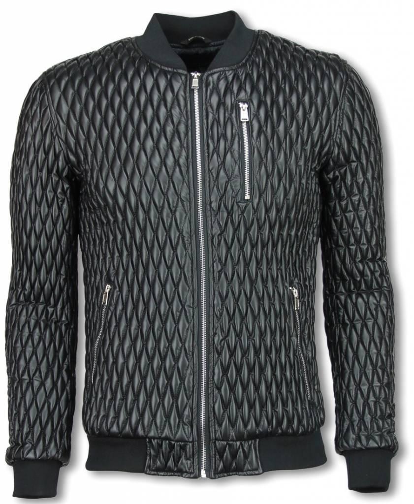 Black Number Biker Jack - Gestikt Ruiten Motief - Zwart