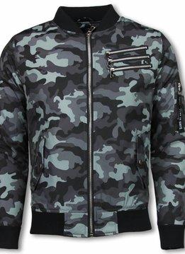 Belman Heren BomberJack - Camouflage Jas Met 3 Ritsen - Grijs