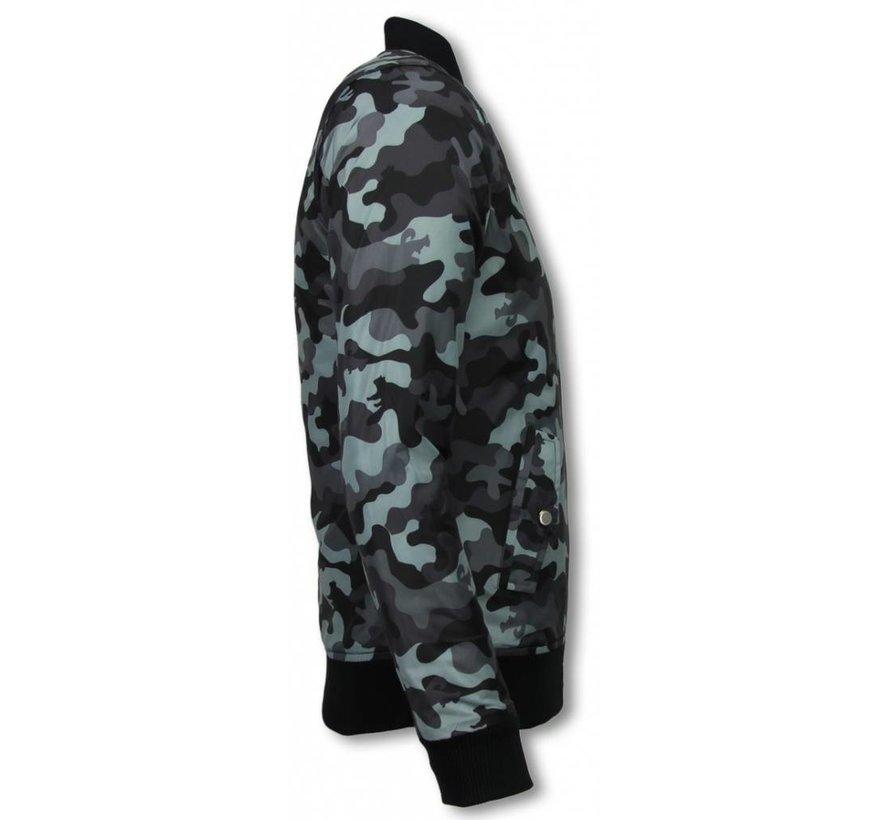 Heren BomberJack - Camouflage Jas Met 3 Ritsen - Grijs