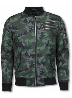 Belman BomberJack Heren - Camouflage Print Met 3 Ritsen - Groen