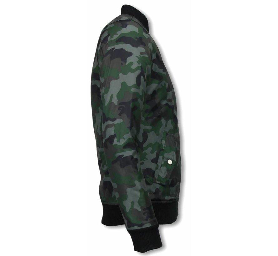 BomberJack Heren - Camouflage Print Met 3 Ritsen - Groen
