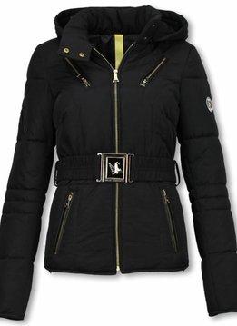 Milan Ferronetti Winterjassen - Dames Winterjas Kort - Sorento Edition - Zwart