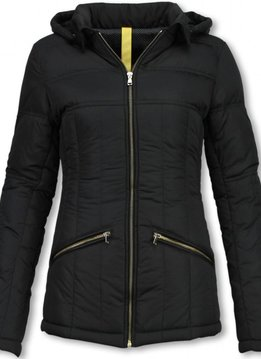 Milan Ferronetti Winterjassen - Dames Winterjas Kort - Beads Edition - Zwart