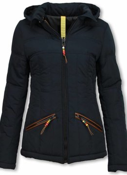 Milan Ferronetti Winterjassen - Dames Winterjas Kort - Beads Edition - Blauw