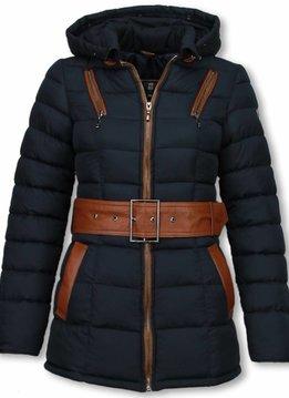 Milan Ferronetti Dames Winterjas Halflang - Gestikt - Grote Gesp - Blauw