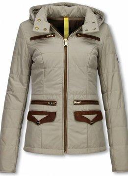 Milan Ferronetti Dames Winterjas Kort- EXtra Pocket Edition - Beige