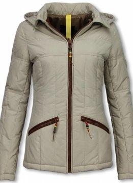 Milan Ferronetti Winterjassen - Dames Winterjas Kort - Beads Edition - Beige