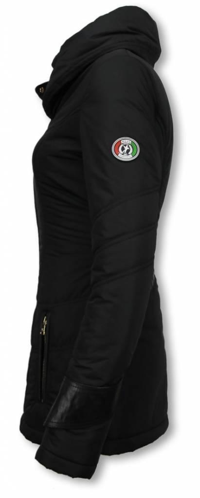 Milan Ferronetti Dames Winterjas Halflang Regular Slim Fit Edition Zwart