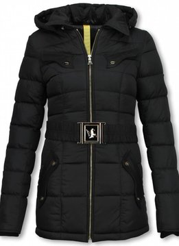 Milan Ferronetti Dames Winterjas Halflang - Black On Black Edition - Zwart