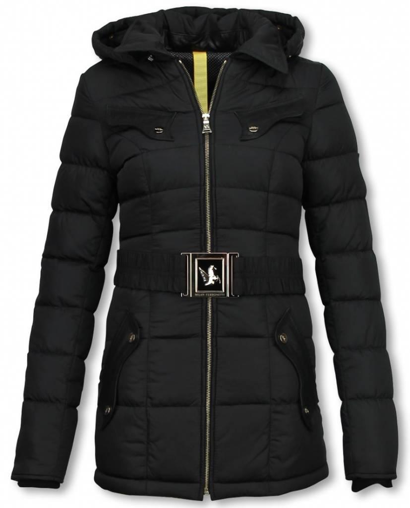 Milan Ferronetti Dames Winterjas Halflang - Black On Black Edition - Zwart