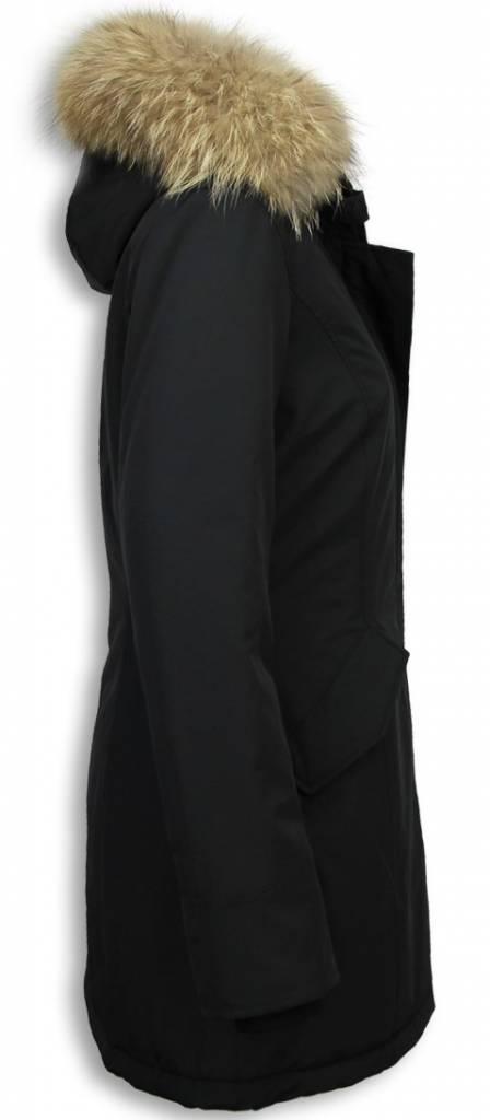 Gentile Bellini Winterjassen - Dames Winterjas Wooly Lang - Large Kunstkraag - Zwart