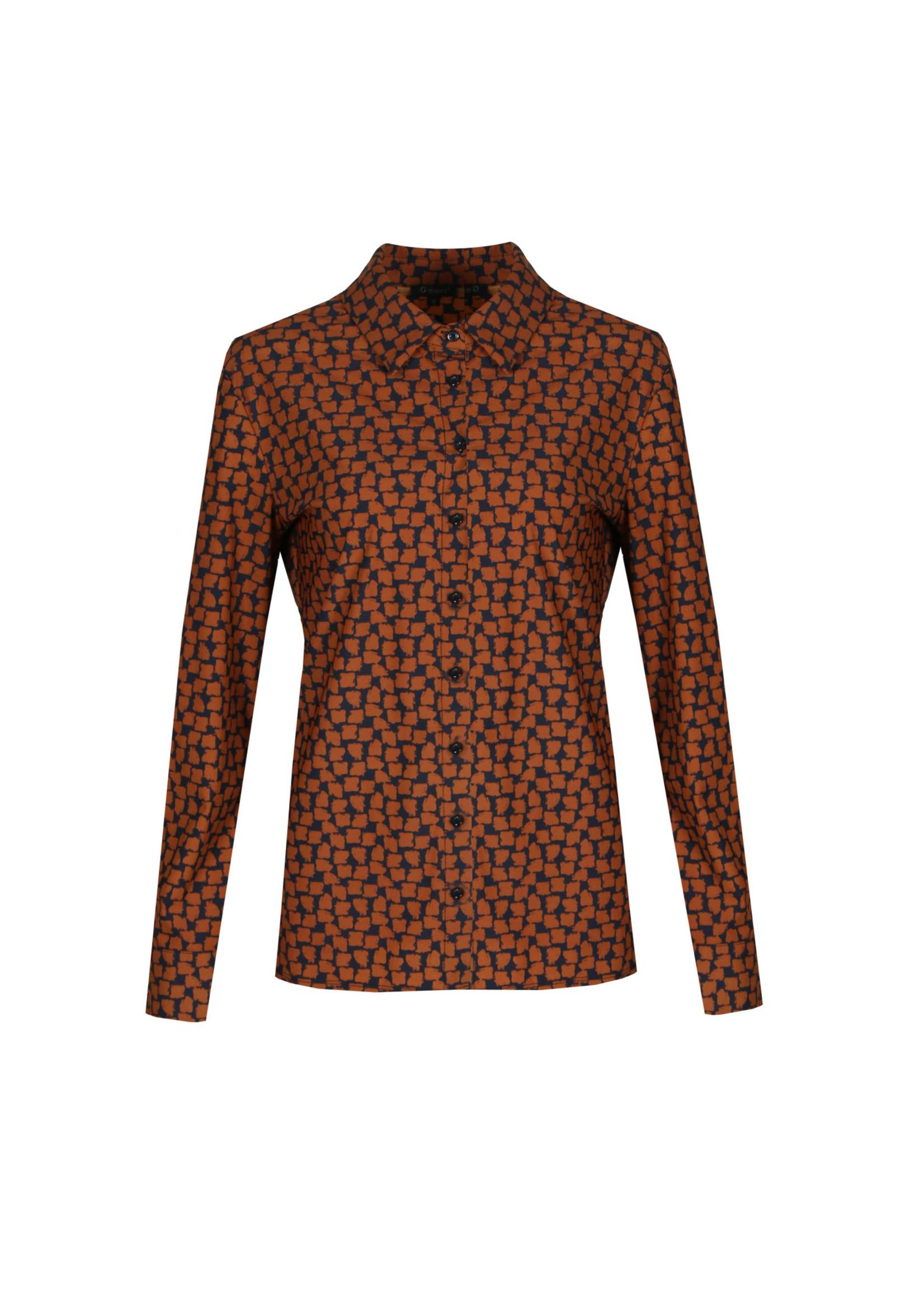 G-Maxx G-maxx - Amalia blouse - Zwart/cognac