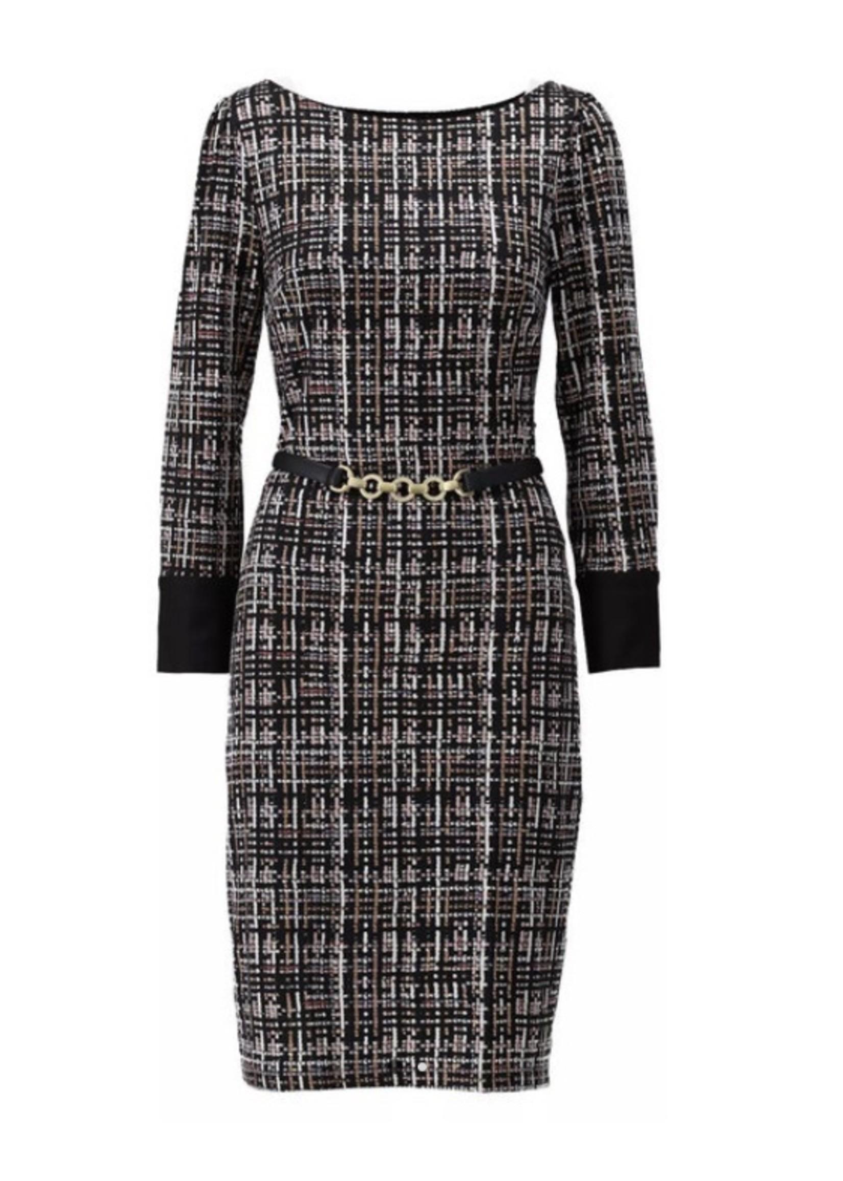 K-design K-Design - T822 jurk - print jurk met riem
