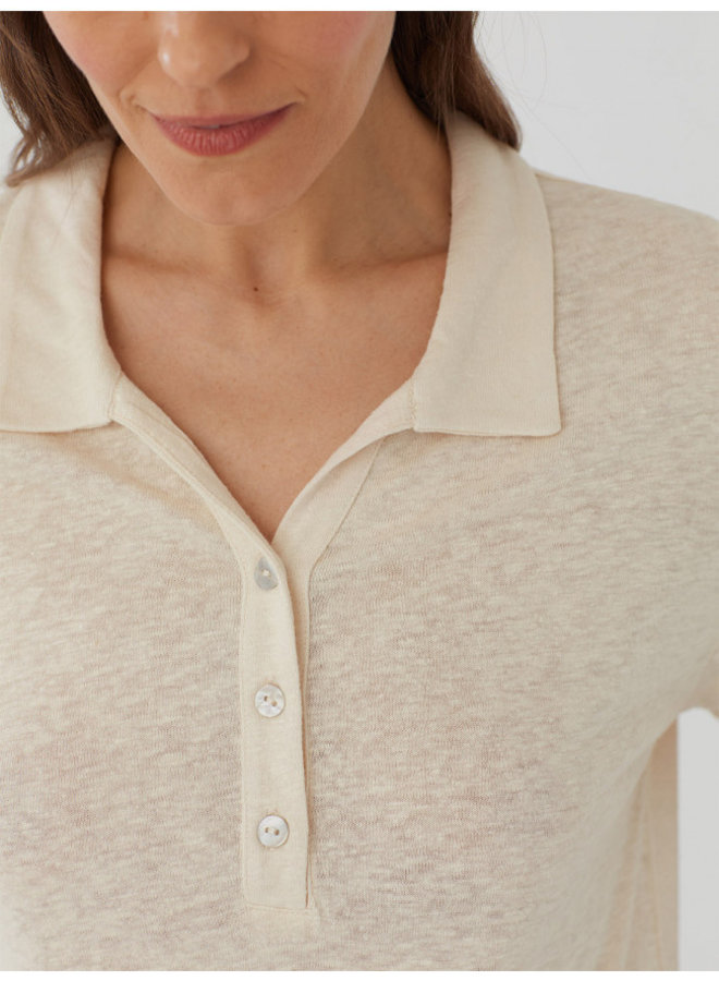 Nice Things Linen Polo Neck T-Shirt