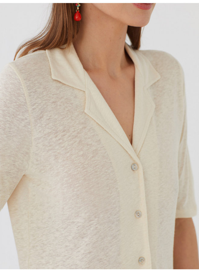 Nice Things Linen polo Neck Top
