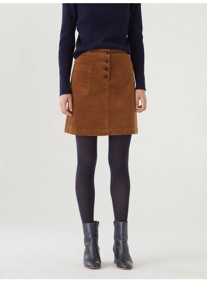 Nice Things Plain Cord Skirt - Camel