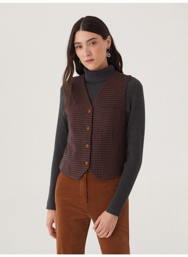 Nice Things Vest Houndstooth