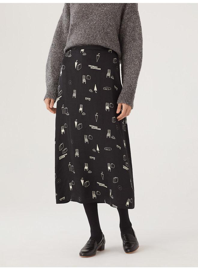 "Nice Things ""Lost & Found Print"" Long Satin Skirt"