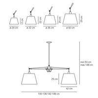 Hanglamp Tolomeo Basculante 2 Bracci Sospensione