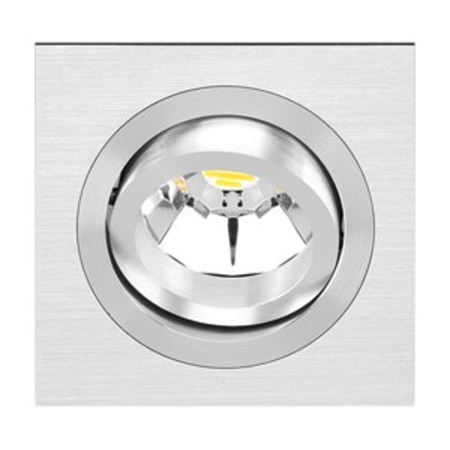 Kantelbare/vierkante Inbouwspot 192.1 in een aluminiumkleur met een GU5.3-fitting (12 V)