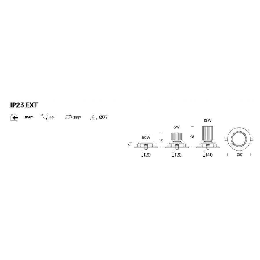 Kantelbare/ronde Inbouwspot 191.1 in een aluminiumkleur met een GU10-fitting (230 V)