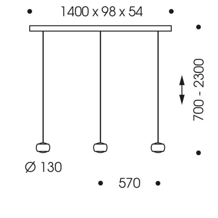 In hoogte verstelbare en dimbare 3-lichts hanglamp Grace met geïntegreerde LED