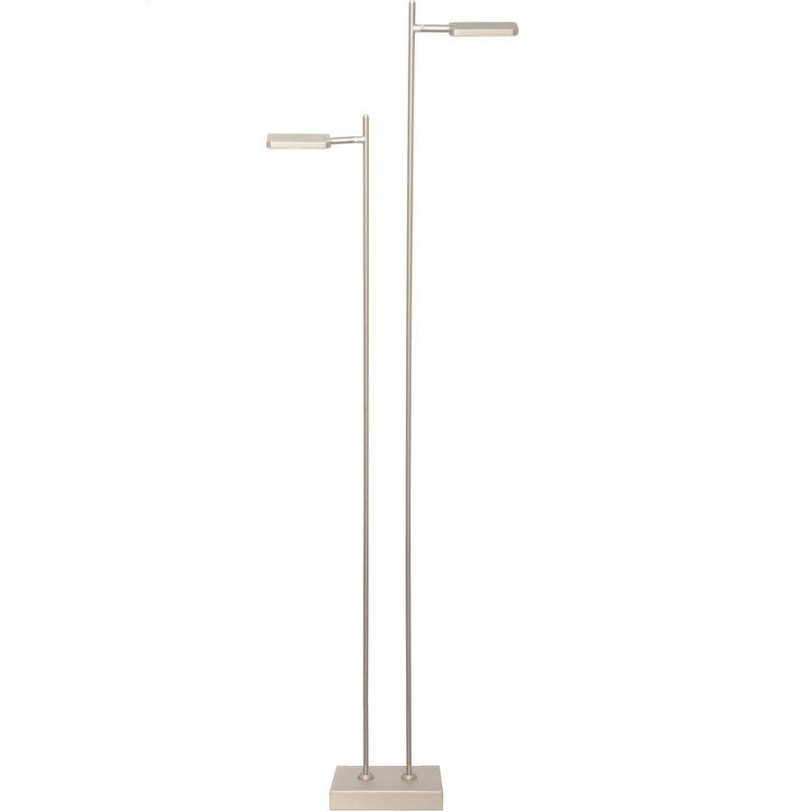 Dimbare 2-lichts vloerlamp Block met geïntegreerde LED - staal