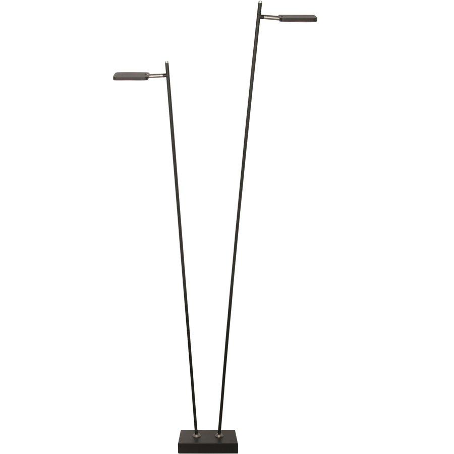 Dimbare 2-lichts Vloerlamp Block Zwart