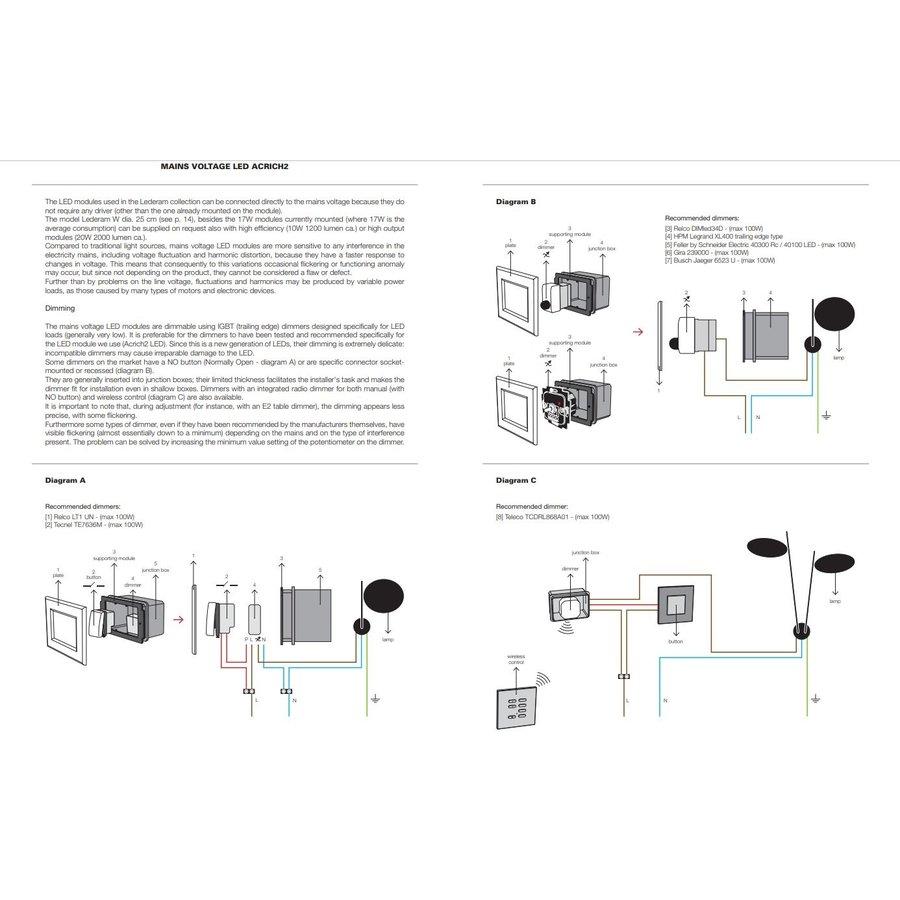 Dimbare wandlamp Lederam W1 17 met geïntegreerde LED
