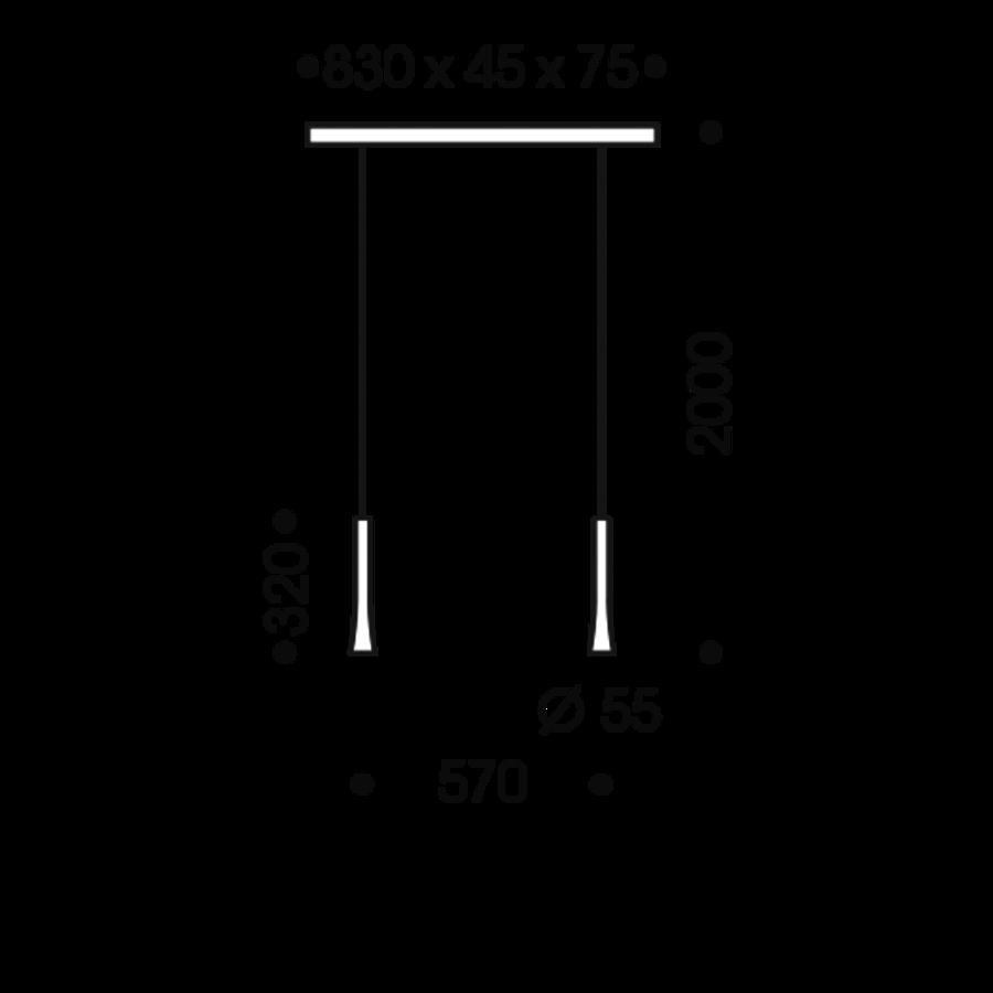 Dimbare 2-lichts Hanglamp Rio met geïntegreerde LED