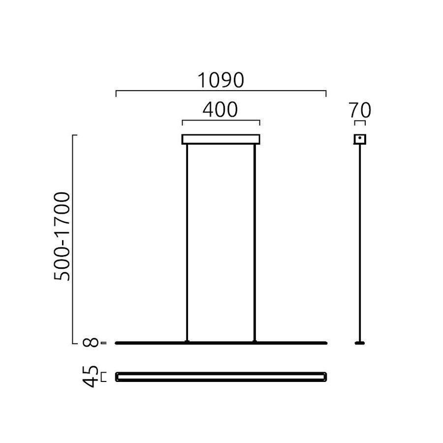 In hoogte verstelbare + Dimbare Hanglamp Lexx met geïntegreerde LED