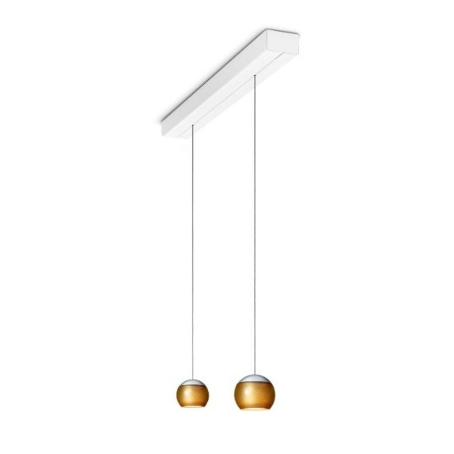 In hoogte verstelbare en dimbare 2-lichts Hanglamp Balino met geïntegreerde LED